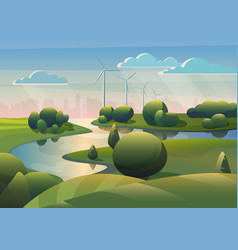 green lands field landscape with river wind vector image