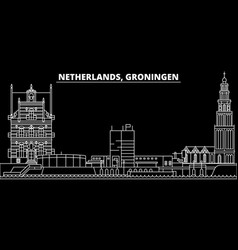 groningen silhouette skyline netherlands vector image