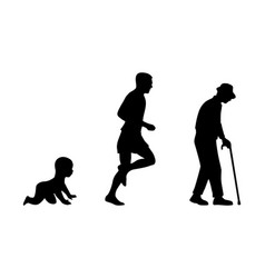 Growing stages boy to man and grandfather vector