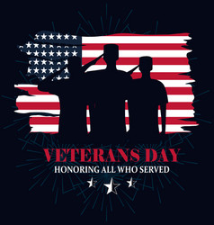 Happy veterans day grunge american flag soldiers vector