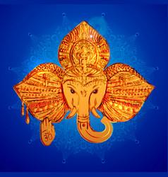 Head of an elephant the indian god ganesh vector