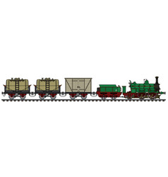 Historical freight steam train vector
