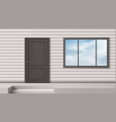 house facade with gray door window siding wall vector image