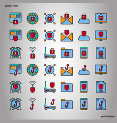 internet security color line icons perfect pixel vector image