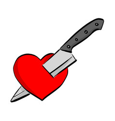 knife stab red heart shape sketch vector image