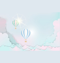 landscape and concept hot air balloon paper art vector image