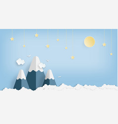 landscape and concept star moon and mountain vector image