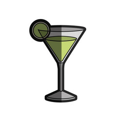 Light coloured silhouette of drink cocktail glass vector