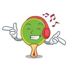 listening music ping pong racket mascot cartoon vector image