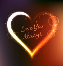 Love you always written inside heart vector