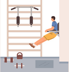 Man doing vertical crunches for abs on hanging leg vector