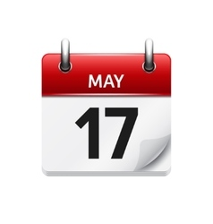 May 17 flat daily calendar icon date vector
