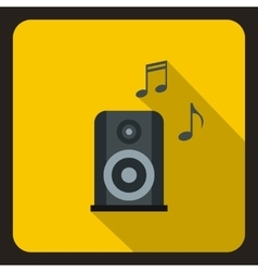Music speaker and notes icon flat style vector image