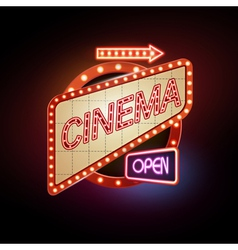 Neon sign Cinema vector