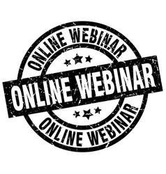Online webinar round grunge black stamp vector