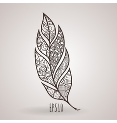 Ornate intricate feather Doodle Zentangle vector