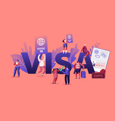 People getting visa concept travelers and vector