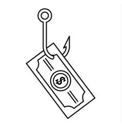 Phishing money icon outline style vector