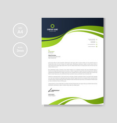 Professional letterhead with green wave vector