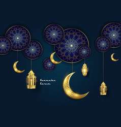 ramadan kareem islamic ornament with moon and vector image