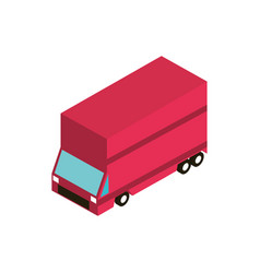 red truck shipping transport vehicle isometric vector image