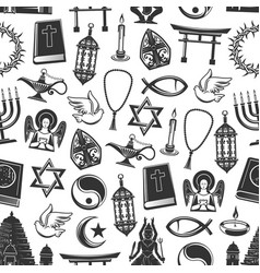 religious symbols seamless pattern vector image