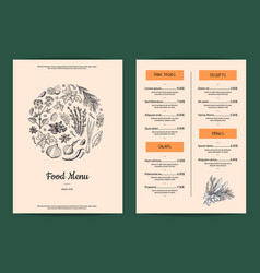 Restaurant or cafe menu with hand drawn vector