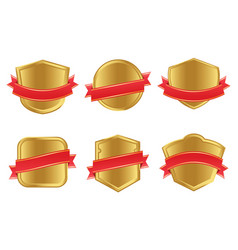 retro golden shields collection vector image