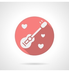 Round pink guitar and hearts flat icon vector image