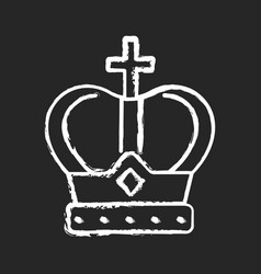 royal crown chalk white icon on black background vector image