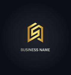 S initial shape line gold logo vector