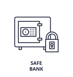 safe bank line icon concept safe bank vector image