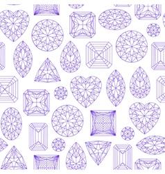 Seamless pattern made of line art diamonds vector