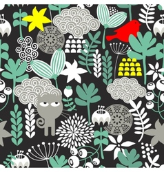 Seamless pattern with black cat vector image