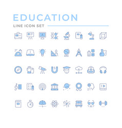 Set color line icons education vector