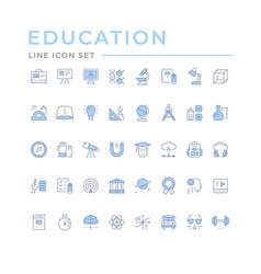 Set color line icons education vector