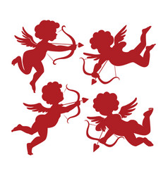 set cute cupid silhouettes vector image
