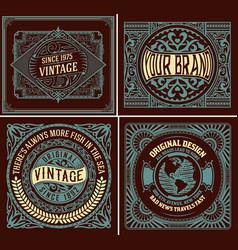 set of 4 vintage labels for packing vector image