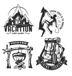 Set of camping emblems labels badges logos vector
