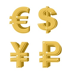 Set of golden symbols money Russian ruble Euro vector image