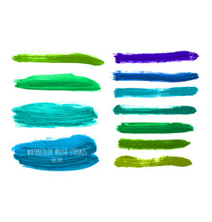 Set of green blue watercolor stripes vector