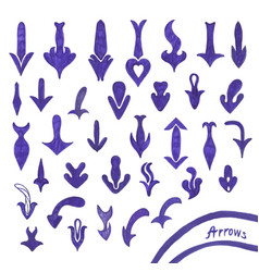 set of handwritten blue arrow vector image vector image