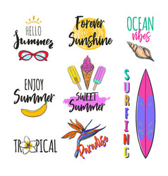 set of summer logos tags stickers vector image