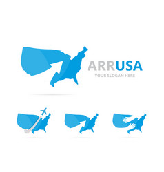 set of usa logo combination america and growth vector image