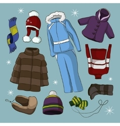 Set of warm winter clothes design vector