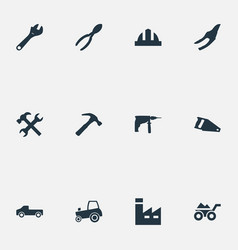 Set simple industrial icons vector