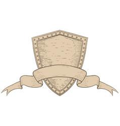 shield with award ribbon banner hand drawn sketch vector image