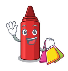 shopping red crayon in character shape vector image