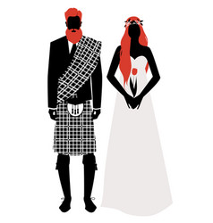 silhouettes of newlyweds couple wearing wedding vector image