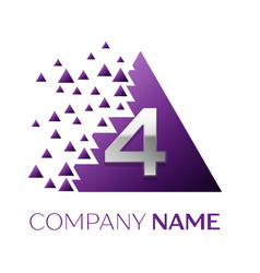 Silver number four logo in purple pixel triangle vector